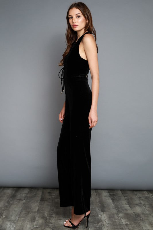 Black Velvet V-Neck Jumpsuit - Hippie Vibe Tribe