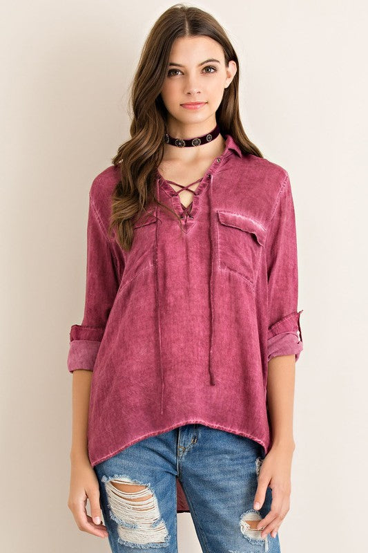 Stressed Wine Long Sleeve Blouse - Hippie Vibe Tribe