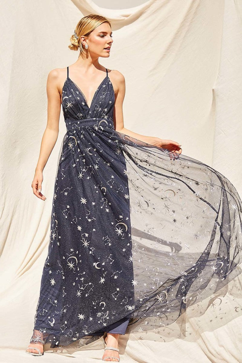 Awesome Moon, Stars Maxi Dress - Hippie Vibe Tribe