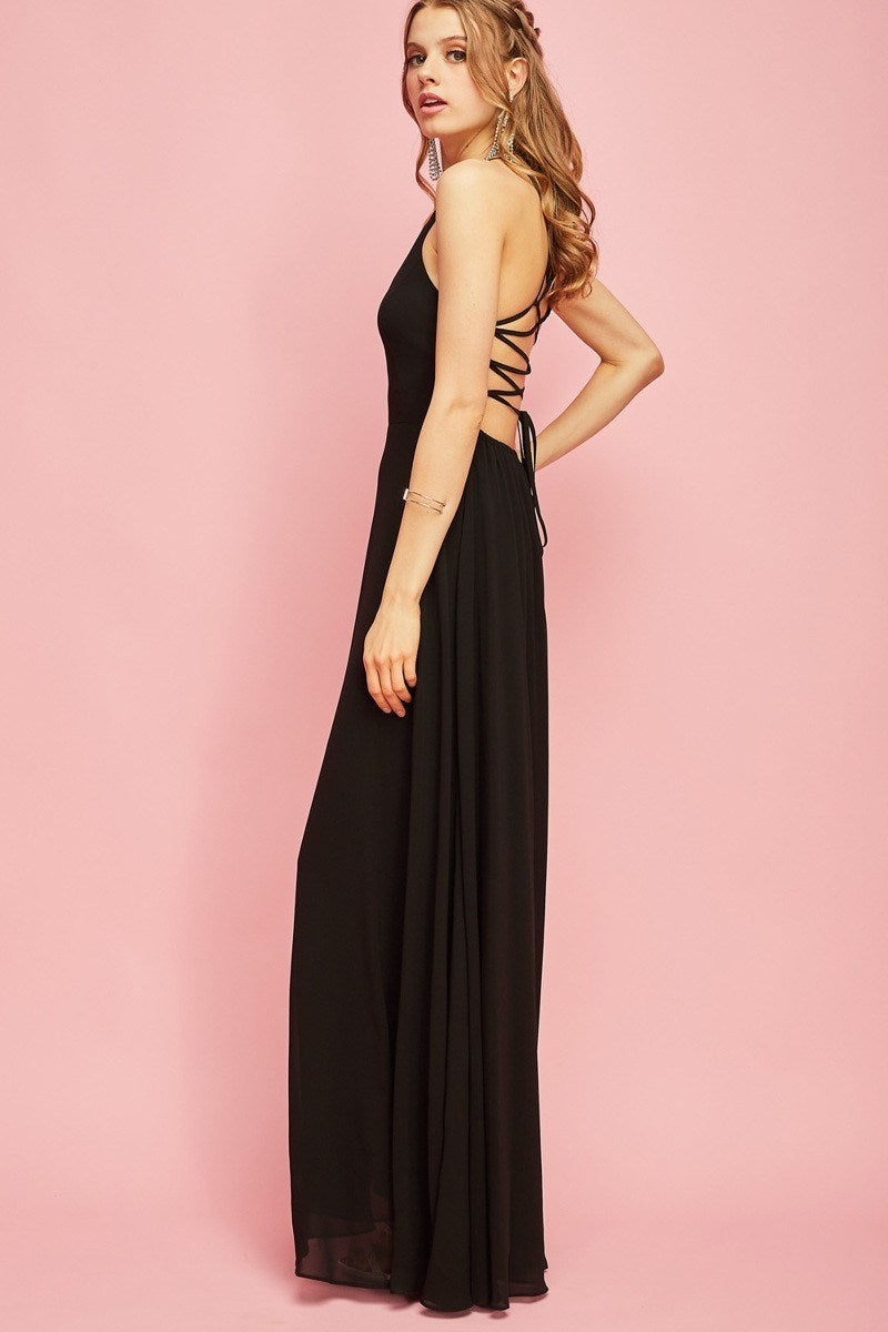 Maxi Halter Criss Cross Back Gown - Hippie Vibe Tribe