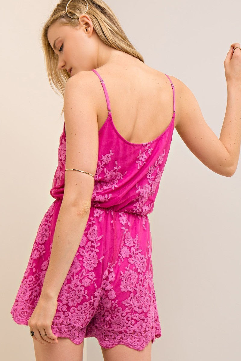Short and Sassy Magenta Festive Embroidered Romper - Hippie Vibe Tribe