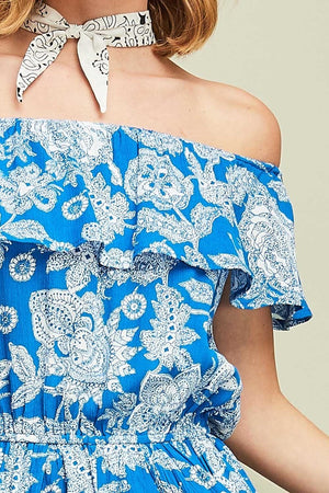 Blue Paisley Off-Shoulder Romper - Hippie Vibe Tribe