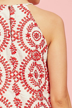 Red Embroidered Halter Dress - Hippie Vibe Tribe
