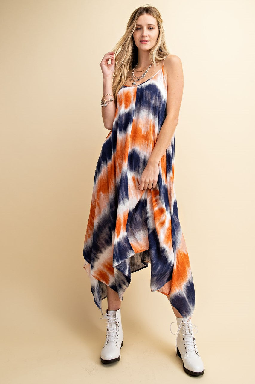 Bohemian Tie-Dye Scarf Maxi Dress - Hippie Vibe Tribe