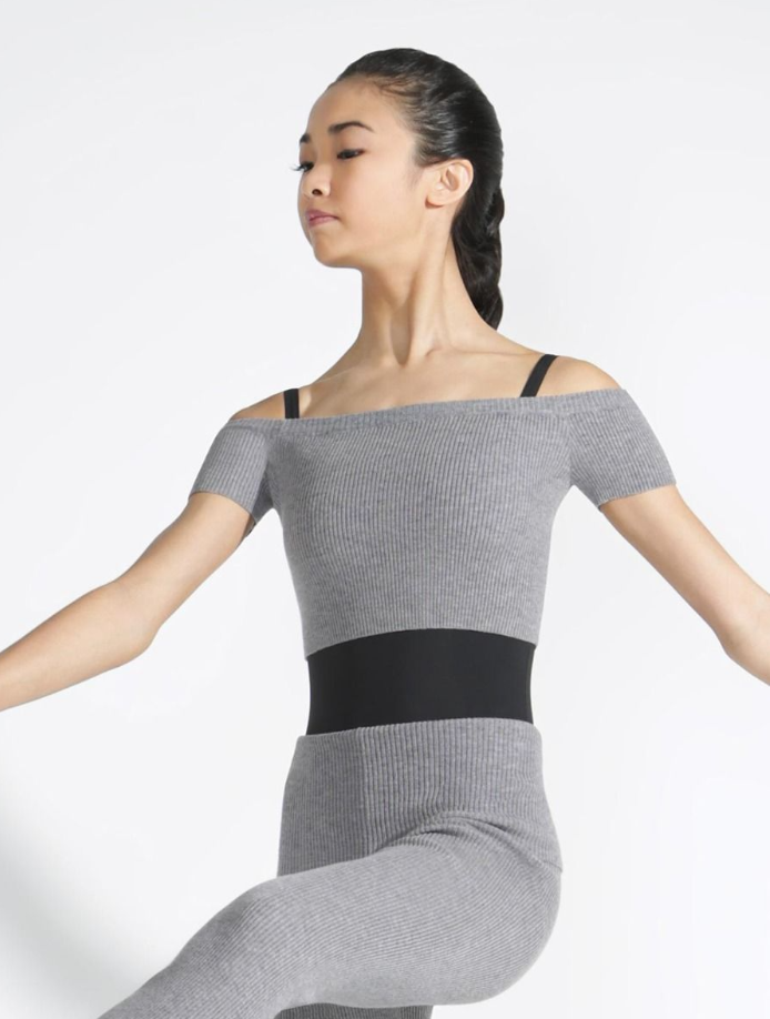Capezio Ribbed Knit Cropped Sweater