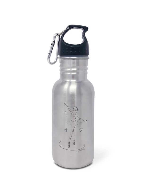 Capezio Ballerina Girl Water Bottle, Silver