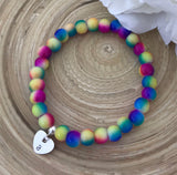 Stretch Bracelet With Initial Heart - Rainbow Vibes
