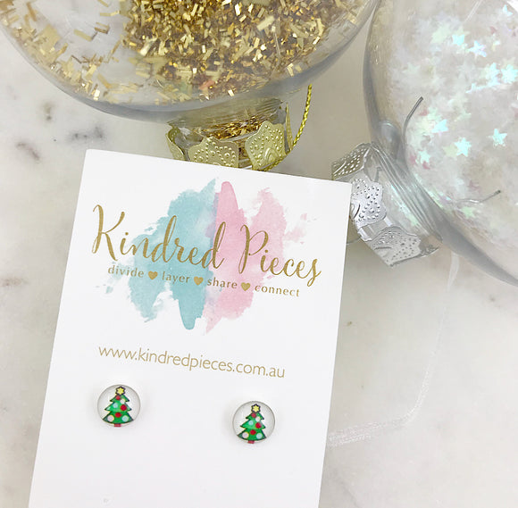 Christmas Tree Picture Earrings