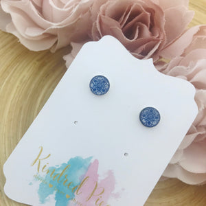 Blue and White Patterned Earrings