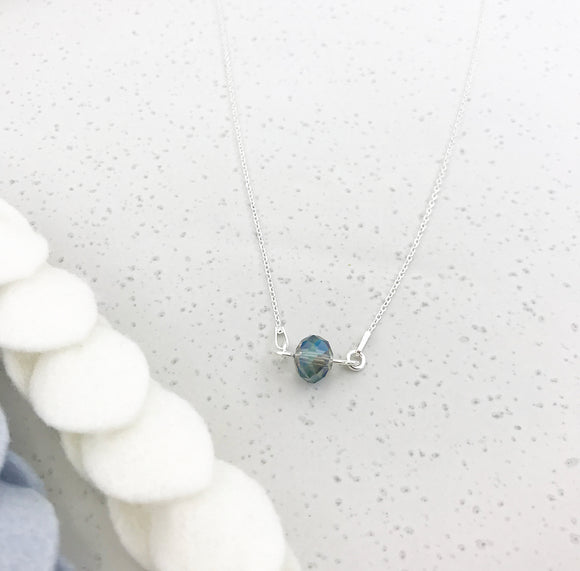 Single Crystal Necklace - Blue Rainbow