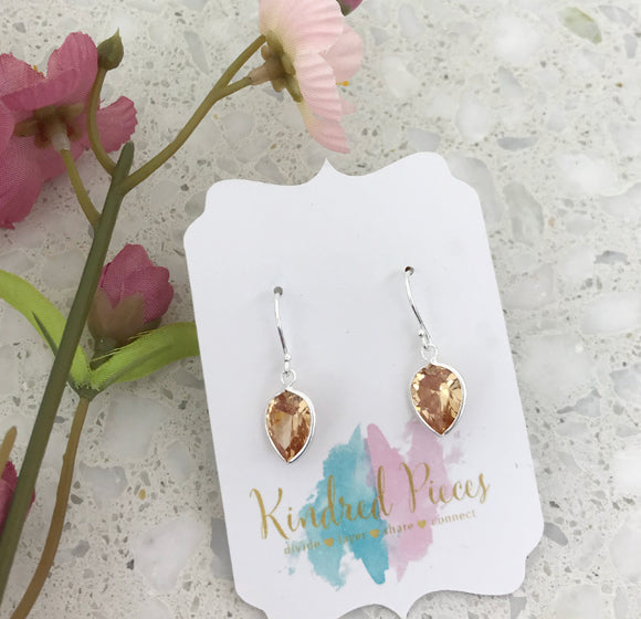Pear Shaped Drop Earrings - Champagne