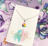 Rainbow Coloured Flower Necklace