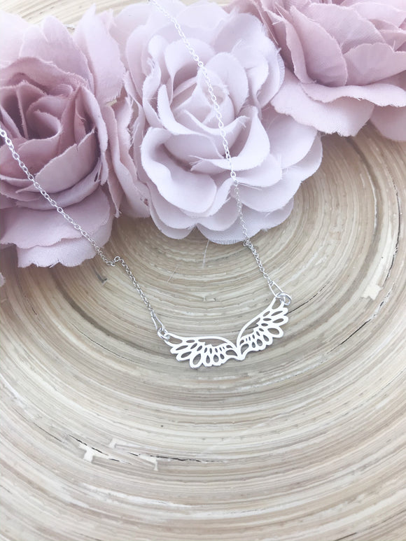 Angel wing connector necklace