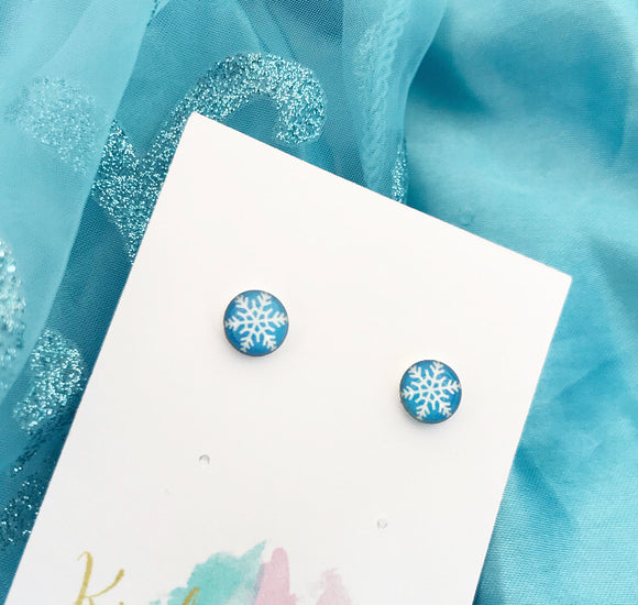 Frozen inspired - snowflake print earrings