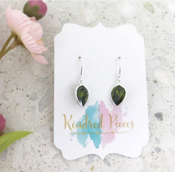 Pear Shaped Drop Earrings - Olive