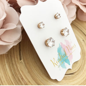 Rose Gold Solitaire Earring Set
