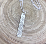 Engraved Bar Pendant (Silver)