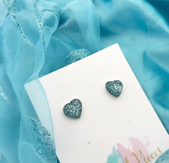Frozen inspired - sparkly blue heart earrings (large)