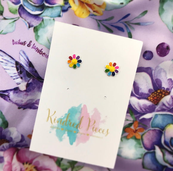 Rainbow Coloured Flower Earrings