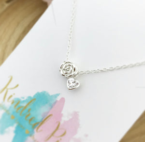 Rose Necklace With Tiny Heart