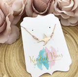 Bluebird connector necklace - rose gold