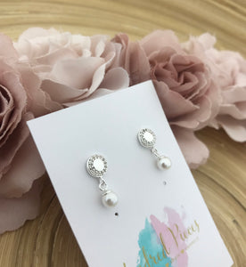 Round Drop Pearl Earrings