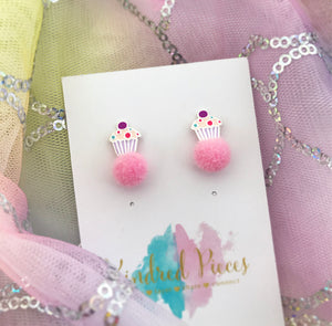 Cupcake Pom Pom Earrings