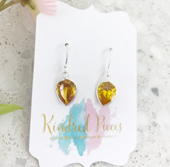 Pear Shaped Drop Earrings - Yellow