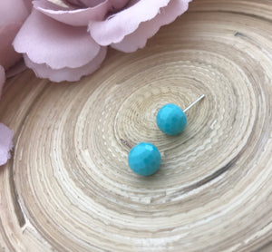 Faceted dome earrings - turquoise