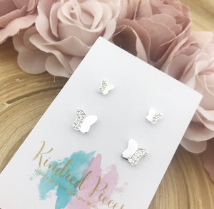 Mother Daughter Butterfly Earrings Set