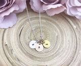 Tiny Initial Discs - with chain