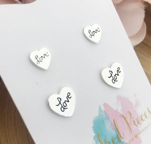 Loved stamped mother daughter earrings set