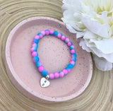 Stretch Bracelet With Initial Heart - Pink/Blue Ombre