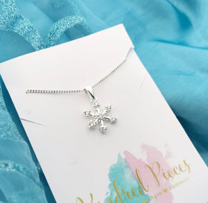 Frozen Inspired Snowflake Necklace - White Cubic Zircons