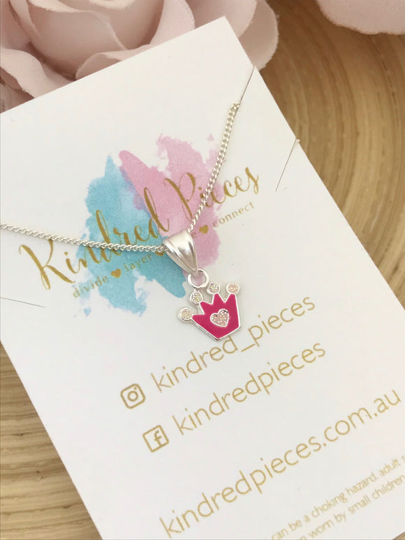 Pink Princess Crown Necklace