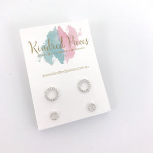 Mother Daughter Crystal Circles Earring Set