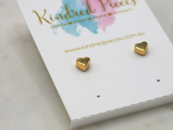 Solid heart earrings - gold