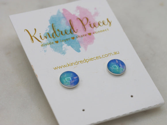 Turquoise print earrings