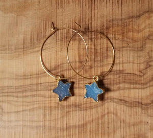 Celestial Blue Drusy Star Hoop Earrings
