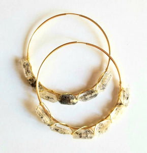Hand wrapped Tourmalated Quartz Gold Filled Large Hoops