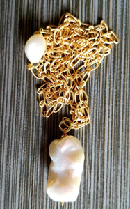 Luxe Large Freshwater Pearl Pendant Long Chain