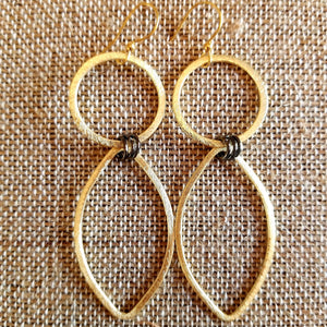 Mixed Metal double Drop Gold and Gunmetal Earrings