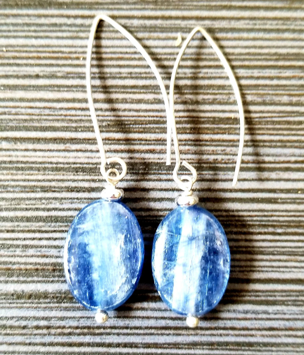 Long Soft Blue  Kyanite Oval Earrings