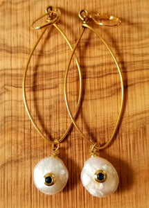 Lustrous Freshwater Pearl Earrings with Water Sapphires