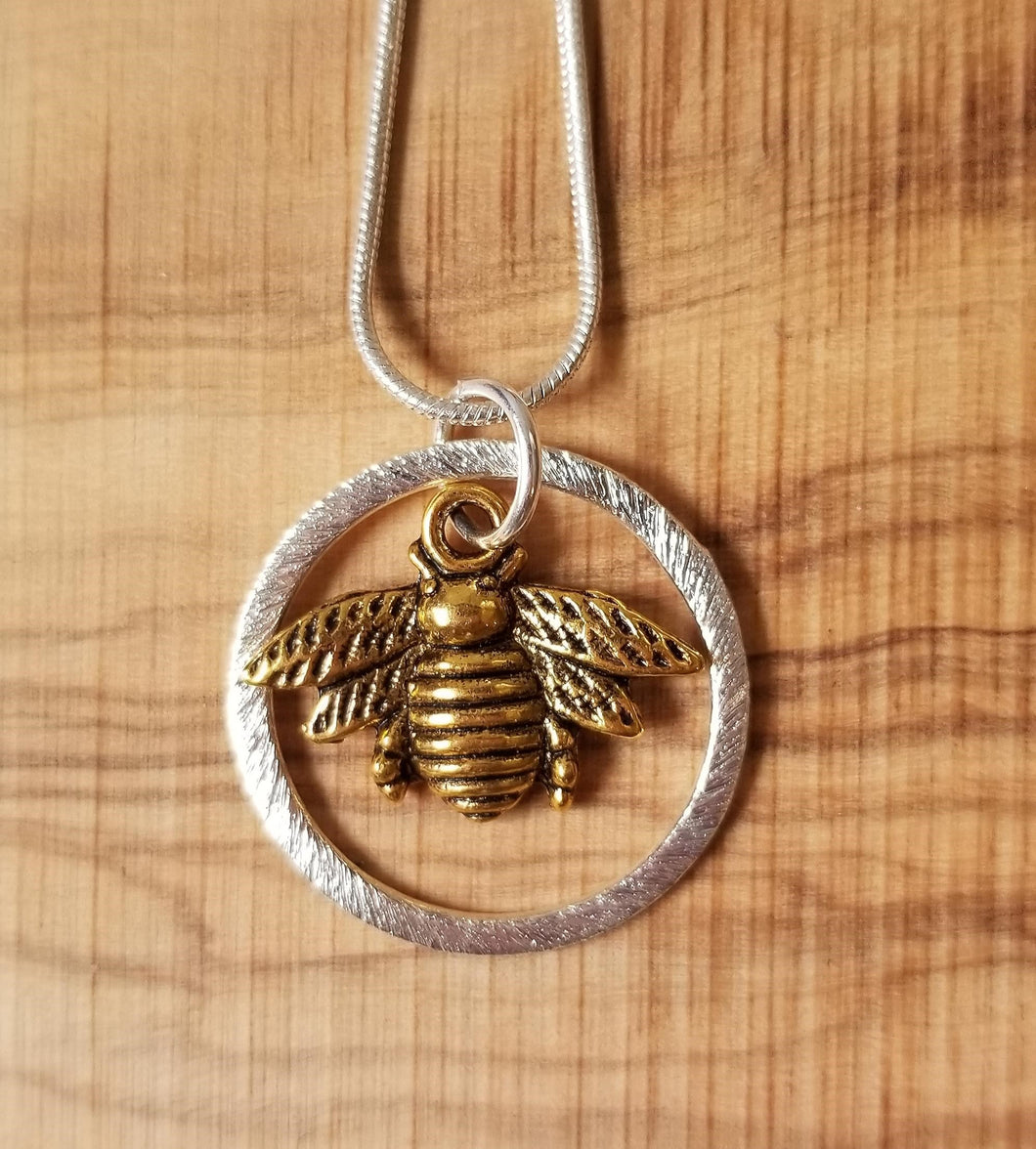 Golden Bee & Silver Necklace