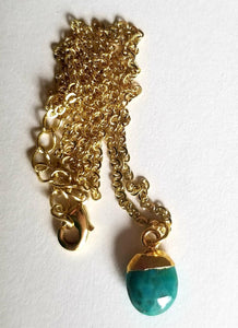 Small Turquoise Vermeil Drop Necklace