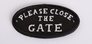 cast iron sign please close the gate