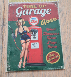 Retro Metal Sign Garage Rules