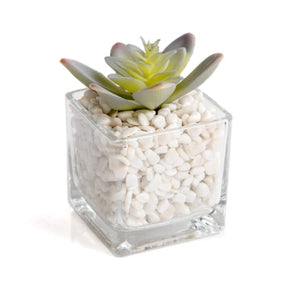 Faux succulent in glass jar