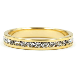 Clear Round Cut Crystal Stone Eternity Band Ring in Gold Tone